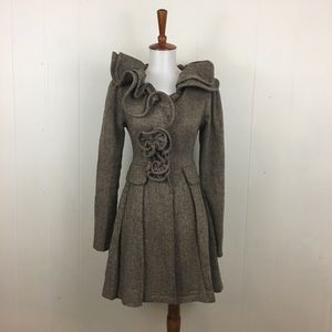 Ryu Ruffle Collar Wool Blend Snap Up Coat